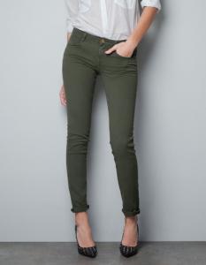 a1345b6a712c zara 34 khaki oliwkowe spodnie skinny okazja - 5731060416 ...