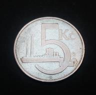 STARA CZECHOSŁOWACJA 1929 - MONETA 5 KORON