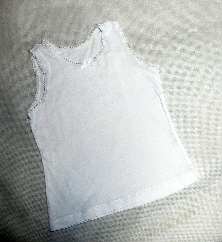 TU biała podkoszulka z kokardką 4-5l, 104-110