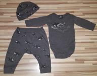 Komplet niemowlęcy H&M 62 body czapka spodnie
