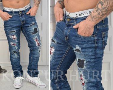 2cc87282e KA8856-SPODNIE jeansy męskie SLIM przetarcia łaty - 6118931570 ...