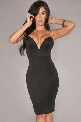 ffa89917b07e88 Sukienka PUSH UP dekolt V sexi czarna 6637 40 L - 6140703528 ...