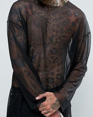 en45 bluzka Reclaimed oversize siateczka czarna L