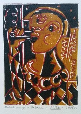 Palacz.10,2 x 13,5 cm. 2005 r. (linoryt)