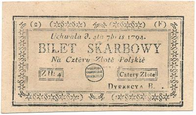 2288. Insurekcja 4 zł 1794 (2)(F), st.1/1- b.ładny