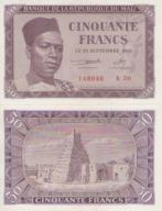 Mali - Afryka Zach. 50frs -1960 UNC P#1 RZADKI !