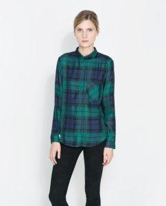 Zielono niebieska koszula w kratę ZARA rozmiar M  TDljg