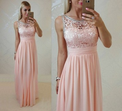 Pudrowy Róż Długa Sukienka Zdobiona Wesele L 6834084912