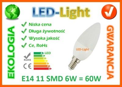 ŻARÓWKA E14 11 LED SMD 6W =60W CIEPŁA BIAŁA 590LM