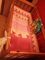 Łóżeczko z szufladą, materac, wypełnienie, pościel