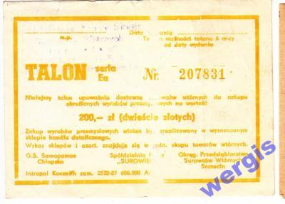 Talon, Makulatura, PRL, Szczecin