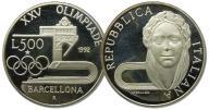 13.WŁOCHY, 500 LIRÓW 1992 BARCELONA IGRZYSKA proof