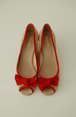 416b7746 Kazar kremowe buty koturny kokardka zamsz 40 - 6835315941 ...