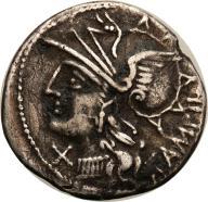 Rzym - Republika AR-denar M. Baebius 137 p.n.e. s3