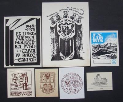 10} Exlibris Ekslibris - zestaw 7 sztuk.