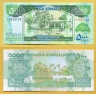 -- SOMALILAND 5000 SHILLINGS 2011 AD P21a UNC