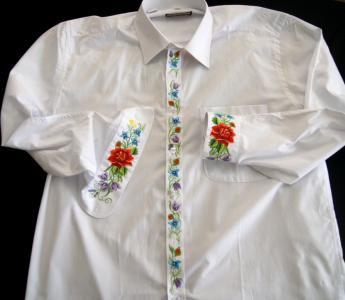 Koszula Męska z Haftem Łowickim