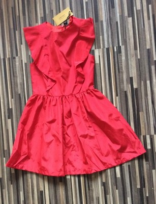 sukienka zara 98 czerwona koralowa