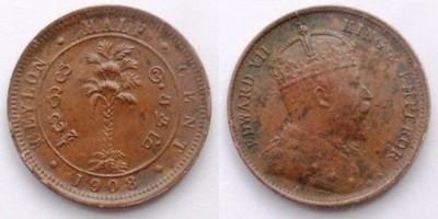 CEJLON BRYTYJSKI 1/2 CENT 1908 KRÓL EDWARD VII
