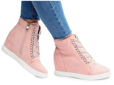 Damskie Sneakersy Pudrowy Róż Zamsz Koturn Łańcuch Walker