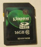 KINGSTON SDHC 16GB CLASS 10 SD10V/16GB