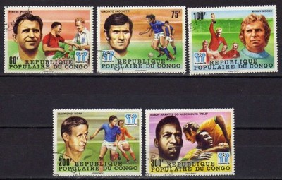 SPORT - KONGO - nr 614-618 - 1978 r. - kas./klej