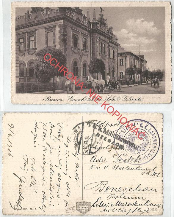 Rzeszów, Gmach Sokoła, K.U.K. cenzura 1916