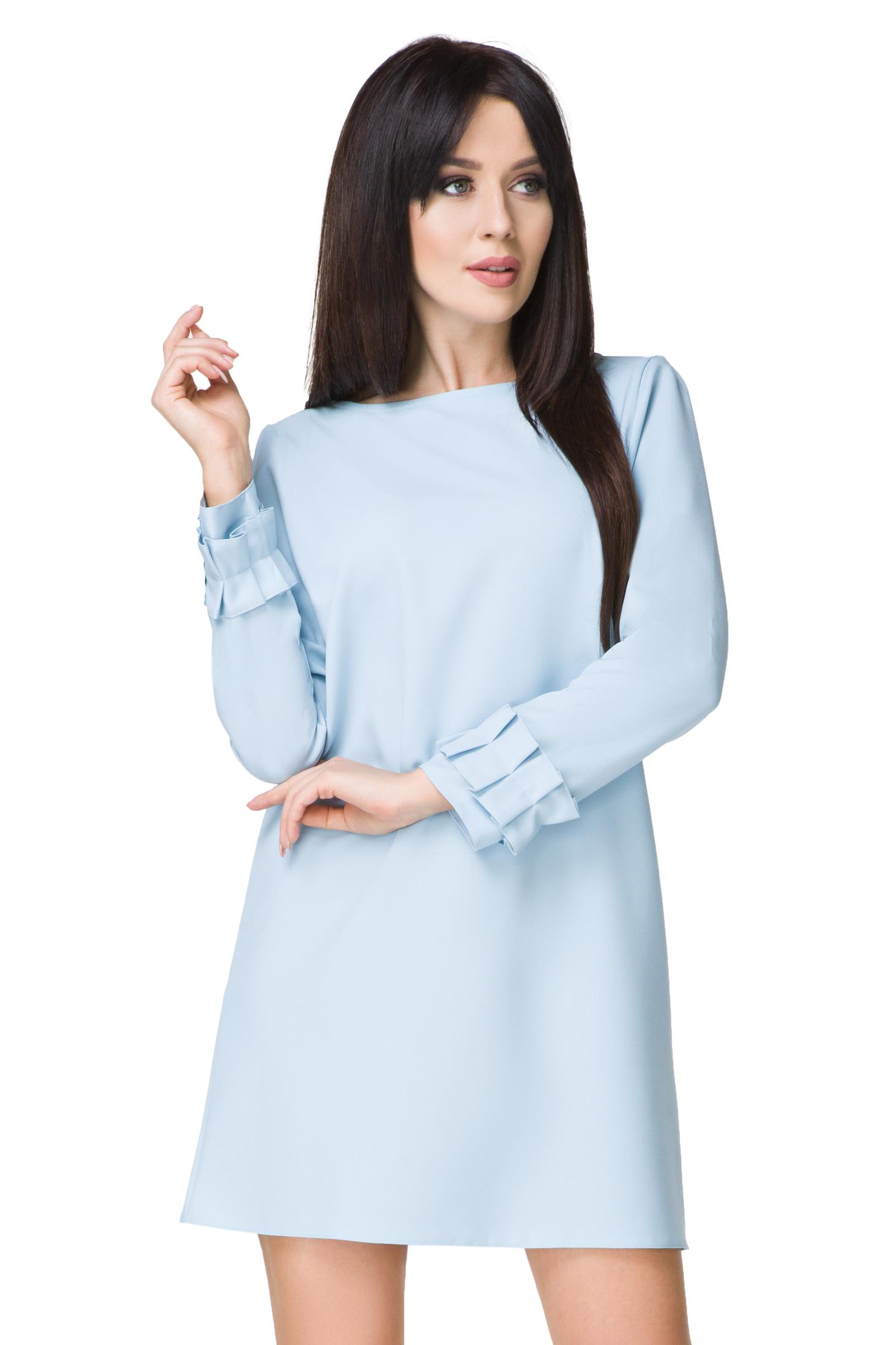 601333dee9 TESSITA Sukienka z falbaną błękitna L (40) - 7019850934 - oficjalne ...