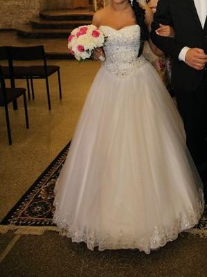 Suknia ślubna Koronka I Cekiny Pięknie Błyszcząca 6641714461