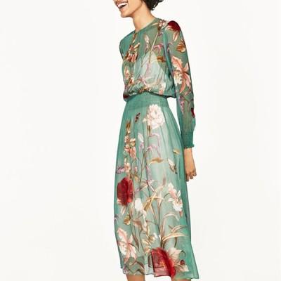 sukienka kwiaty zara zielona