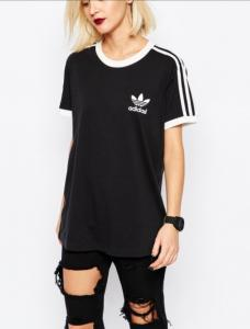 bluza czarna adidas 3 stripes tee