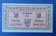 JP# Słupsk [Stolp] 50 Pf 1918 r. unc