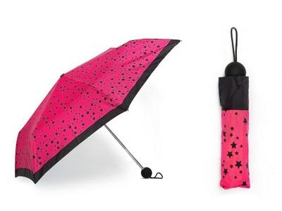 MANGO parasol róż amarant NOWY parasolka  gwiazdki