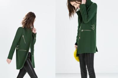 L 7925 Płaszcz damski zielony złote suwaki  ZARA 