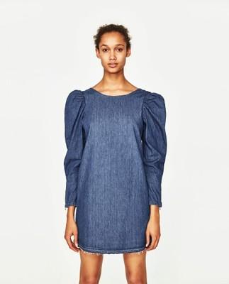 111ff0ce56 Zara Sukienka Jeansowa Rękaw Bufka S 6768649826 Oficjalne