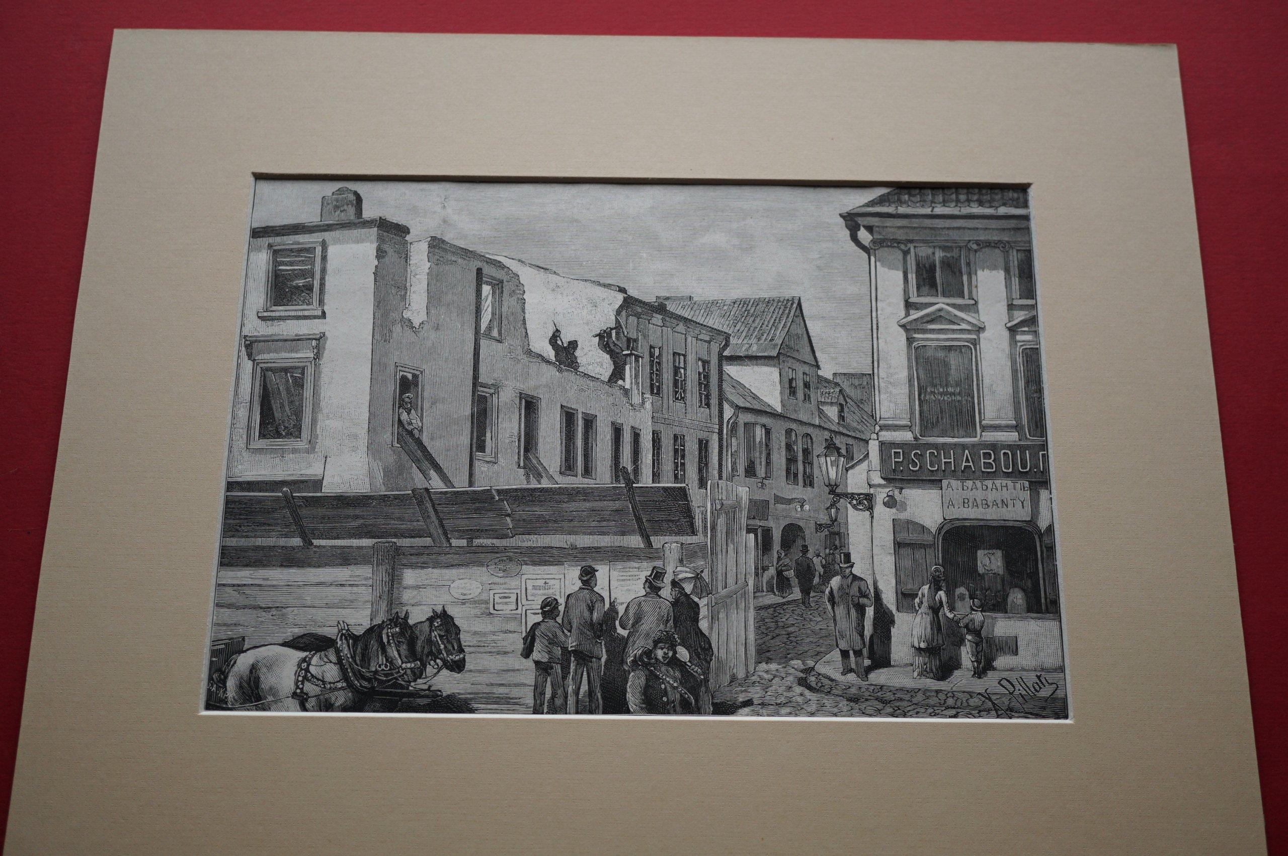 PILLATI K.: Warszawa. Rozbiórka domów. 1882.