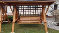 huśtawka drewniana ogrodowa z dachem h-3