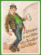 Z KUFLEM PIWA POWRÓT -pocztówka lat czterdziestych