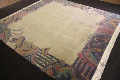 Beżowy Designerski Dywan Wełniany Z Nepalu 25x25