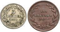 045. Badenia 1 kraj. 1829 i 3 krajcary 1870 (2szt)