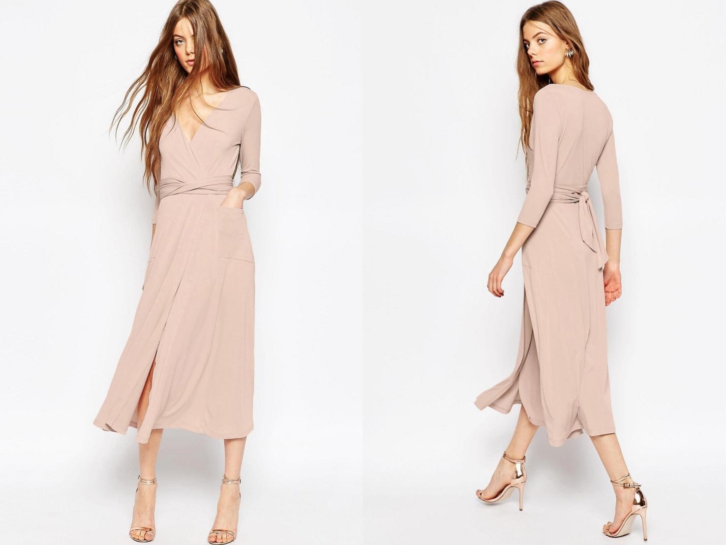 Pastelowa Sukienka Midi L40