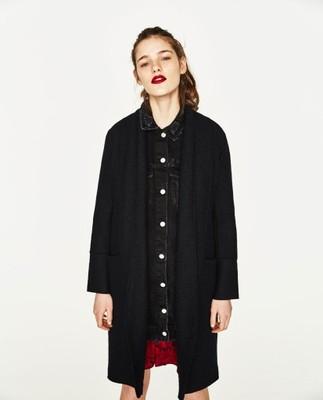 NOWY płaszcz Zara r. L czarny wełniany z klapami