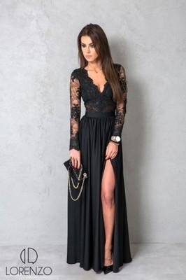 Luksusowa Koronkowa Sukienka Lady MAXI Czarna XL