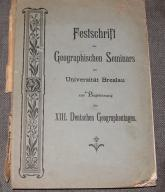 FESTSCHRIFT GEOGRAPHISCHEN SEMI..Univ,Breslau 1901