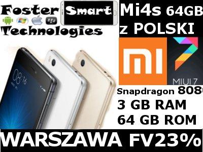Nowy Xiaomi Mi4s 3GB / 64GB 3260 z POLSK Wwa FV23%