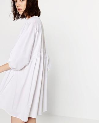 ZARA biała sukienka oversize z popeliny M