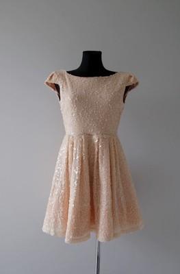 7fa9d0a9e Asos Topshop pudrowa sukienka cekiny wesele 38 M - 6785795997 ...