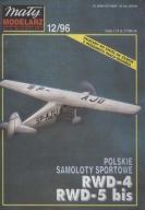 MAŁY MODELARZ 12/96 Samoloty sport RWD-4 RWD-5 bis