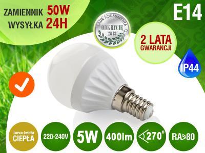 Żarówka LED E14 SMD2835 CIEPŁA 5W 400lm=50W RA>
