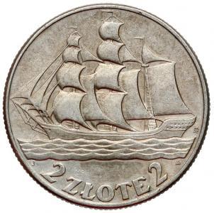 1540. 2 zł 1936 Żaglowiec, st.~4/3 korozja awersu